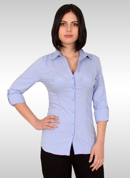 Damen Popeline Bluse mit Brusttaschen