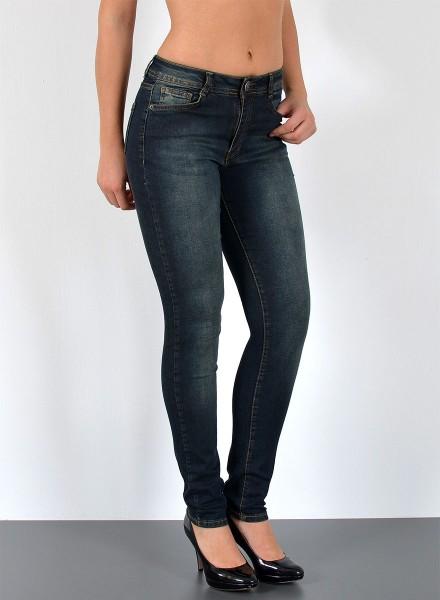ESRA Damen Jeans Skinny nachtblau große Größen