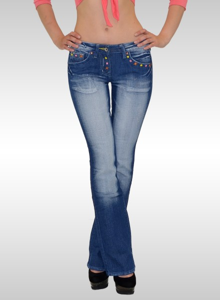 Damen Bootcut Jeans mit bunter Stickerei