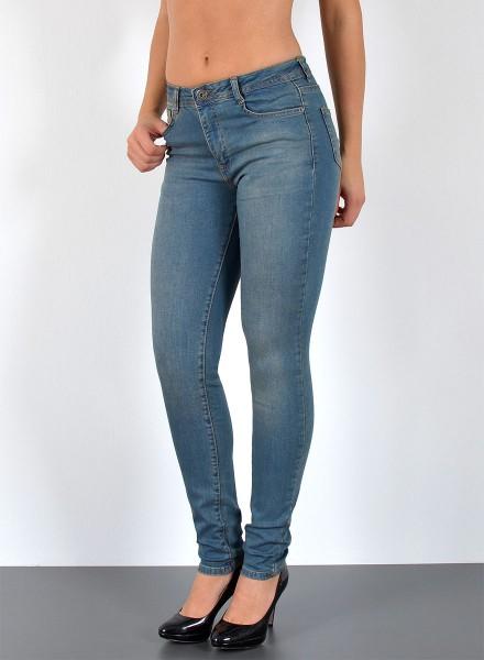 ESRA Damen Skinny Jeans bis Übergröße hellblau