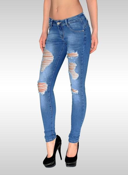 Damen Skinny Jeans Hose mit Risse