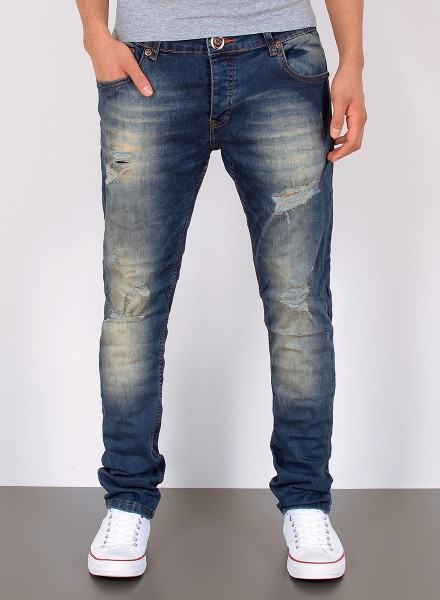 Herren Basic Straight Fit Jeans Destroyed Look