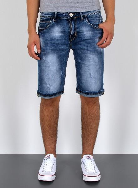 Herren kurze Jeans Shorts Used Look bis Übergröße