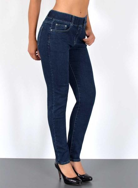Damen Slim Fit Jeans Hose mit Gummibund