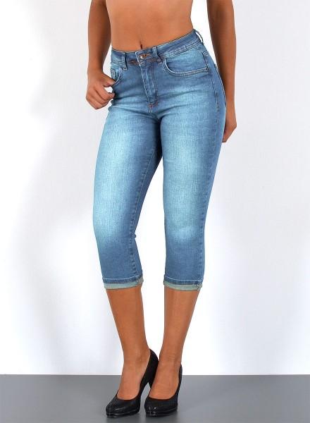 ESRA Damen Jeans Capri Hose High Waist