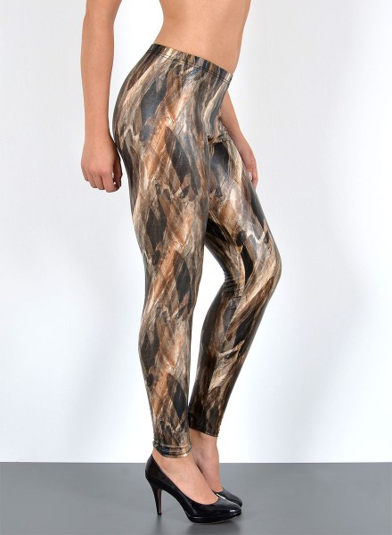Damen Wetlook Federlook Leggings
