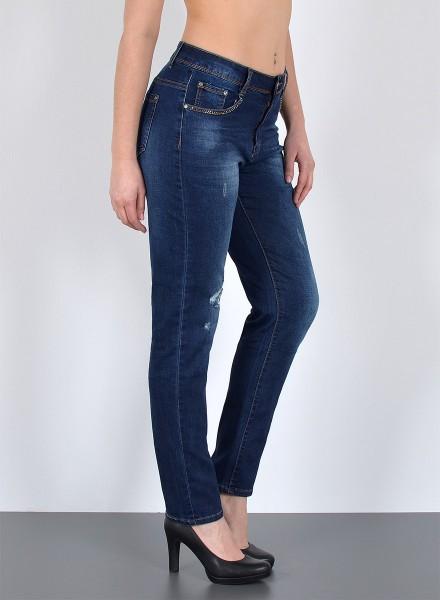 Damen Jeans mit Risse und Strass bis Übergröße