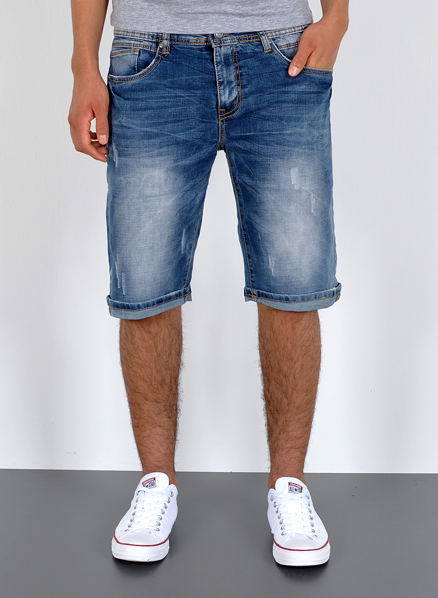 herren jeans shorts kurze bermuda shorts used look kurze. Black Bedroom Furniture Sets. Home Design Ideas