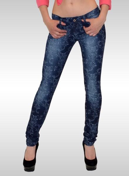 Damen Skinny Jeans mit Muster dunkelblau