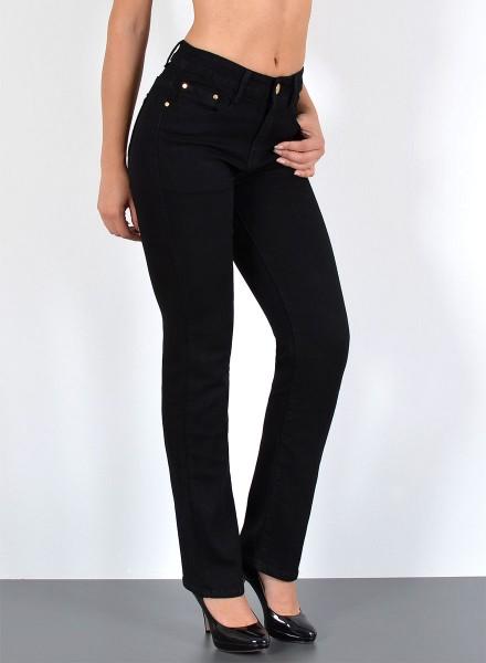 ESRA Damen Straight Fit Jeans Hose bis Übergröße
