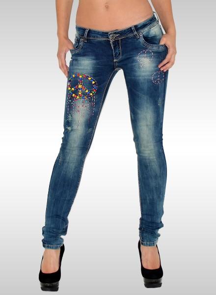 Damen Skinny Jeans mit Peace Muster