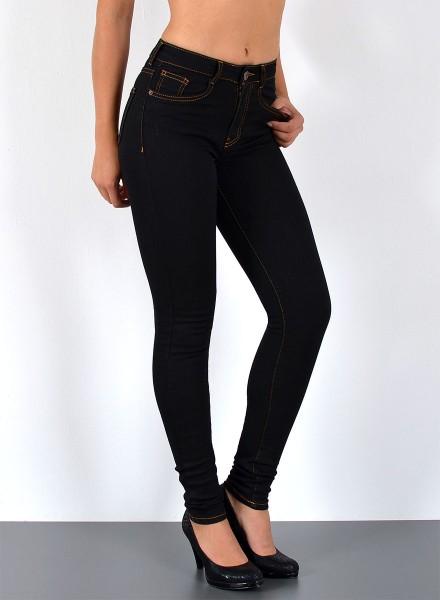 Damen Skinny Jeans Hose High Waist schwarz