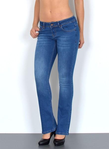 ESRA Damen Jeans Bootcut Used Look