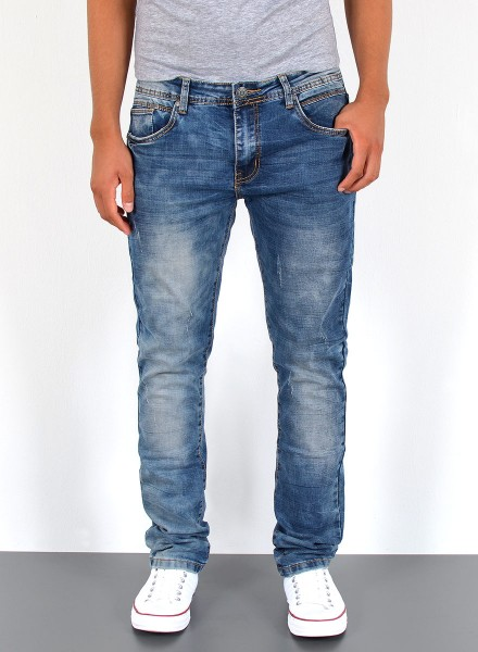 Herren Jeans Basic Slim Fit Destroyed Look