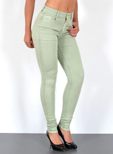 Damen Skinny High Waist Jeans Hose bis Übergröße