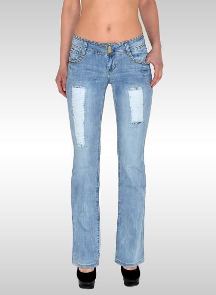 Damen Bootcut Jeans mit Risse und Applikationen