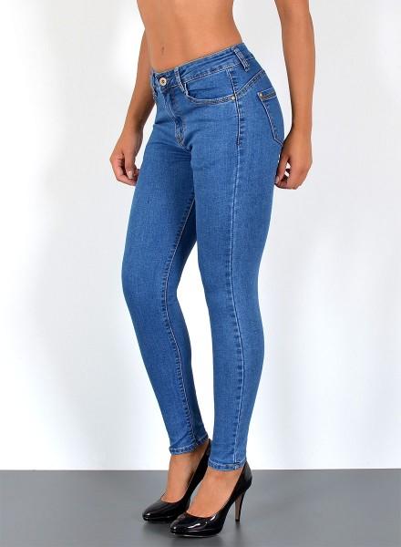 Damen Skinny Jeans Pushup Hochbund