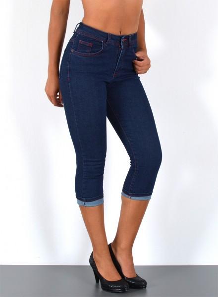 ESRA Damen Capri Jeans Hose rote Naht bis Übergröße