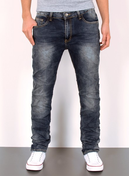 Herren Jeans Basic Slim Fit Knitteroptik Used Look