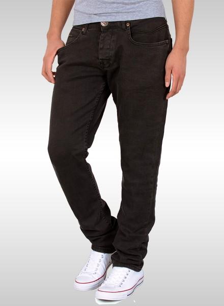 Herren Basic Straight Fit Jeans mit Riss am Knie