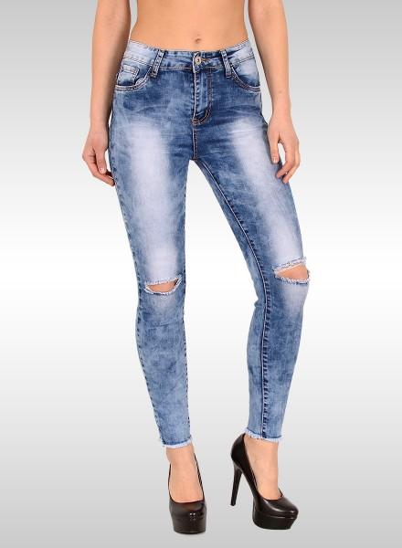 Damen High Waist Skinny Ankle Jeans mit Risse